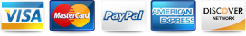 Visa, Mastercard, Paypal, American Express, Discover Accepted